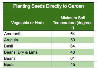 ideal soil temperature for seeds